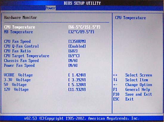 Показатели температуры процессора в BIOS